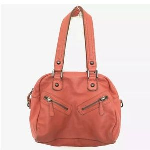 Linea Pelle Shoulder Bag Purse Leather Orange